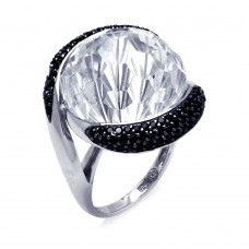 Sterling Silver Rhodium and Black Rhodium Plated 2 Toned Black and Large Clear Center CZ Ring - BGR00292