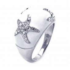 **Closeout** Wholesale Sterling Silver 925 Rhodium Plated White Enamel Clear CZ Starfish Dome Ring - BGR00322