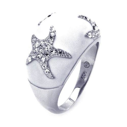 -Closeout- Wholesale Sterling Silver 925 Rhodium Plated White Enamel Clear CZ Starfish Dome Ring - BGR00322