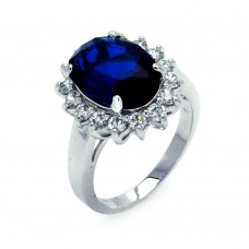 Sterling Silver Rhodium Plated Blue and Clear Cluster CZ Flower Ring - BGR00323