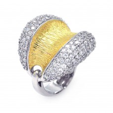 Sterling Silver Rhodium and Gold Plated 2 Toned Clear Pave Set CZ Open Dome Ring - BGR00326