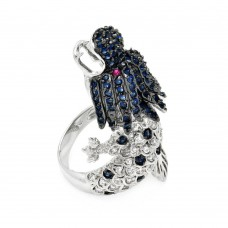 Sterling Silver Rhodium and Black Rhodium Plated 2 Toned Multi Colored CZ Dragon Ring - BGR00356
