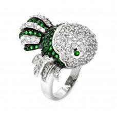 -Closeout- Wholesale Sterling Silver 925 Rhodium and Black Rhodium Plated 2 Toned Clear and Green CZ Guppy Fish Ring - BGR00358