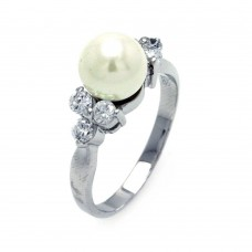 Sterling Silver Rhodium Plated Synthetic Pearl Center Clear CZ Ring - BGR00367