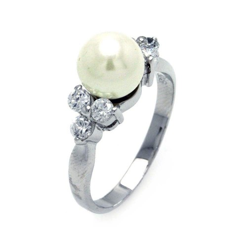 Wholesale 925 Sterling Silver Rhodium Plated Synthetic Pearl Center Clear CZ Ring - BGR00367
