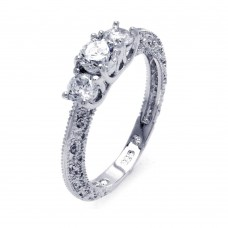 Sterling Silver Rhodium Plated Clear CZ Ornate Past Present Future Bridal Ring bgr00372