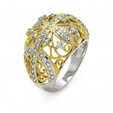 Sterling Silver Rhodium and Gold Plated 2 Toned Clear CZ Filigree Dome Ring - BGR00374