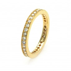 Wholesale Sterling Silver 925 Gold Plated Clear CZ Stackable Eternity Ring - BGR00375
