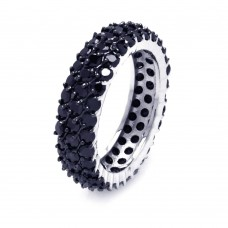 Wholesale Sterling Silver 925 Rhodium and Black Rhodium Plated Black Pave Set CZ Eternity Ring - BGR00380