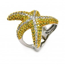 Sterling Silver Rhodium and Gold Plated 2 Toned Pave Set Green and Clear CZ Starfish Ring - BGR00381