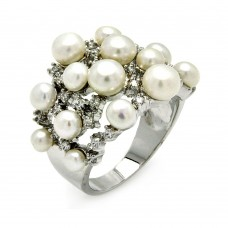 Sterling Silver Rhodium Plated Clear CZ Multiple Fresh Water Pearl Ring  - BGR00382