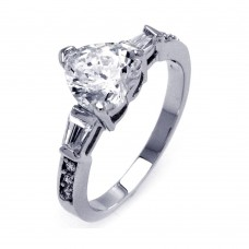 Sterling Silver Rhodium Plated Clear CZ Heart Bridal Ring bgr00388