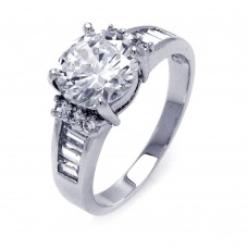 Sterling Silver Rhodium Plated Clear Baguette Round Center Center CZ Bridal Ring bgr00389