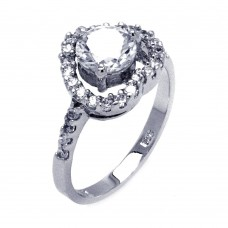 Sterling Silver Rhodium Plated Clear Center CZ Heart Bridal Ring bgr00390