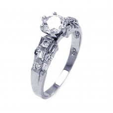 Sterling Silver Rhodium Plated Clear Baguette Round CZ Bridal Ring bgr00393