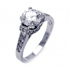 Sterling Silver Rhodium Plated Channel Set Clear Round Center CZ Bridal Ring bgr00397
