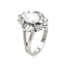 Sterling Silver Rhodium Plated Clear Baguette Round Center CZ Flower Bridal Ring bgr00400