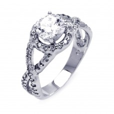 Sterling Silver Rhodium Plated Clear Center CZ Wave Side Bridal Ring bgr00404