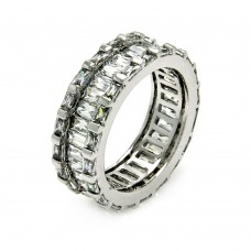 Wholesale Sterling Silver 925 Rhodium Plated Clear Baguette Channel Set CZ Eternity Ring - BGR00405
