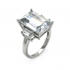 Sterling Silver Rhodium Plated Clear Baguette & Rectangular Center CZ Bridal Ring bgr00427