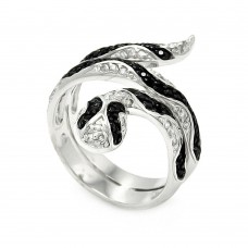 Sterling Silver Rhodium and Black Rhodium Plated Clear and Black CZ Snake Wrap Ring - BGR00446
