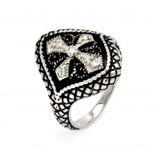 Sterling Silver Rhodium and Black Rhodium Plated 2 Toned Clear CZ Cross Crest Cigar Band Ring - BGR00449