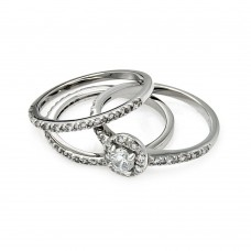 Sterling Silver Rhodium Plated Clear Cluster CZ Bridal Stackable Ring Set bgr00450