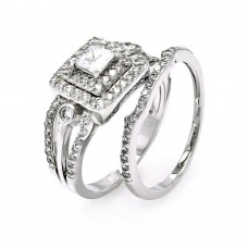 Sterling Silver Rhodium Plated Clear CZ Bridal Multi Layer Square Ring Set bgr00456