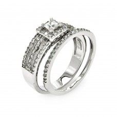 Sterling Silver Rhodium Plated 3 Row Clear Square Center CZ Bridal Ring Set bgr00457