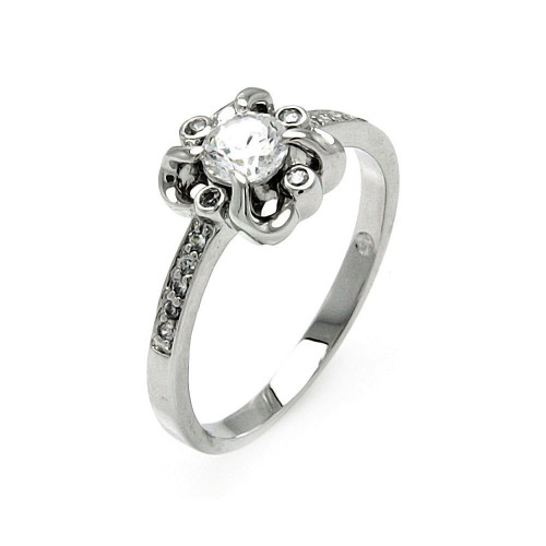 Wholesale Sterling Silver 925 Rhodium Plated Round Clear Center CZ Flower Ring - BGR00478
