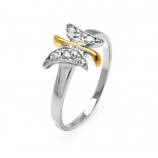 Sterling Silver Rhodium and Gold Plated 2 Toned Clear Pave Set CZ Butterfly Ring - BGR00505