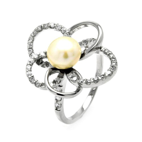 Wholesale Sterling Silver 925 Rhodium Plated Fresh Water Pearl Center Clear CZ Flower Ring - BGR00512