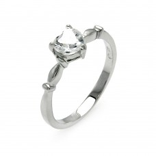 Sterling Silver Rhodium Plated Heart Clear CZ Bridal Ring - BGR00521