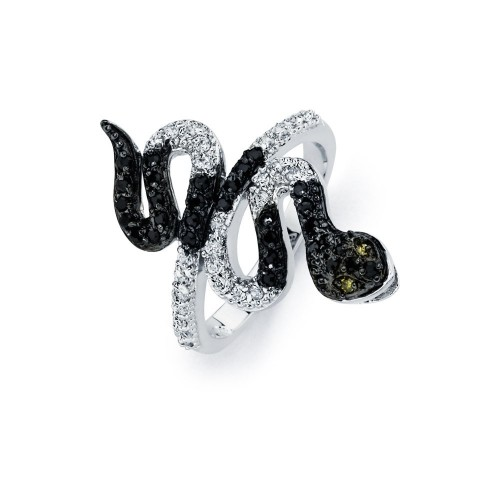 Wholesale Sterling Silver 925 Rhodium and Black Rhodium Plated 2 Toned Clear and Black CZ Snake Ring - BGR00522
