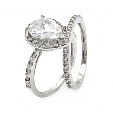 Sterling Silver Rhodium Plated Clear Pear Shaped CZ Bridal Ring Set bgr00530