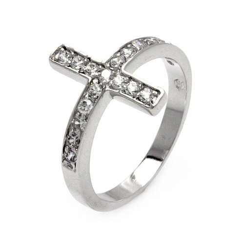 Wholesale Sterling Silver 925 Rhodium Plated Clear Pave Set CZ Cross Ring - BGR00536