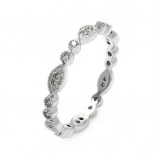 Wholesale Sterling Silver 925 Rhodium Plated Clear Round and Marquise CZ Stackable Eternity Ring - BGR00537