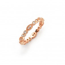 Wholesale Sterling Silver 925 Rose Gold Plated Clear Round and Marquise CZ Stackable Eternity Ring - BGR00537RGP