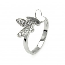 Sterling Silver Rhodium Plated Clear Pave Set CZ Double Butterfly Ring - BGR00538