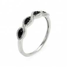 Sterling Silver Rhodium and Black Rhodium Plated Clear and Black CZ Ring - BGR00540
