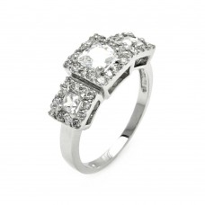 Sterling Silver Rhodium Plated 3 Set Clear CZ Square Bridal Ring bgr00543