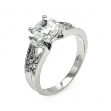 Sterling Silver Rhodium Plated Clear Marquise Sides & Square Center CZ Bridal Ring bgr00551