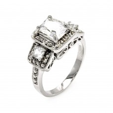Sterling Silver Rhodium Plated 3 Set Square Clear CZ Bridal Ring bgr00552