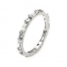 Wholesale Sterling Silver 925 Rhodium Plated Clear Round and Baguette CZ Stackable Eternity Ring - BGR00556