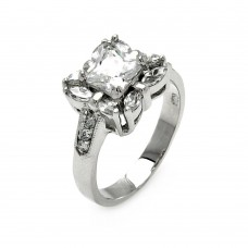 Sterling Silver Rhodium Plated Clear Center CZ Square Bridal Ring bgr00559