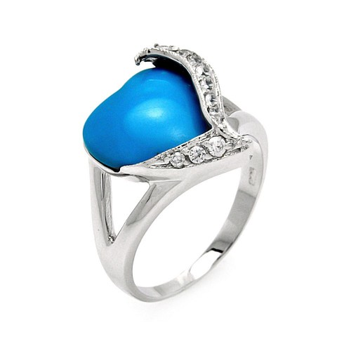 -Closeout- Wholesale Sterling Silver 925 Rhodium Plated Turquoise Center Clear CZ Heart Ring - BGR00562