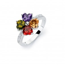 Wholesale Sterling Silver 925 Rhodium Plated Multi Colored CZ Flower Ring - BGR00563