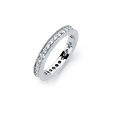Wholesale Sterling Silver 925 Rhodium Plated Clear Channel Set CZ Stackable Eternity Bridal Ring - BGR00567