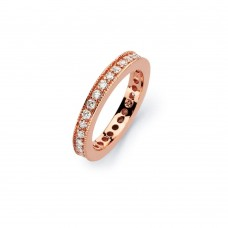 Wholesale Sterling Silver 925 Rose Gold Plated Clear Channel Set CZ Stackable Eternity Bridal Ring - BGR00568