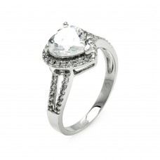 Wholesale Sterling Silver 925 Rhodium Plated Clear CZ Heart Bridal Ring - BGR00570